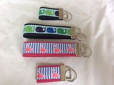 Preppy Ribbon Jacquard Novelty Keychain  Fob Wristlet or Mini Whale Navy Pink
