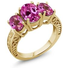 4.00 Ct Pink Created Sapphire & Mystic Topaz 18K Yellow Gold Plated Silver Ring