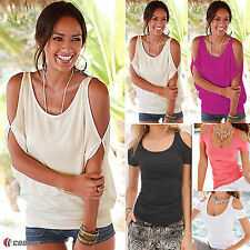 Plus Size Womens Sexy Off The Shoulder Blouse Casual Loose Tops T-Shirts Tee NEW