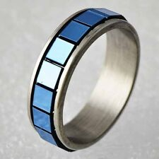 blue gold F wholesale jewelry lot stainless steel ring womens men size6 7 8 9
