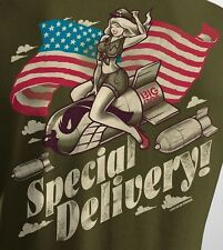 Big Dogs Tee Shirt Special Delivery American Flag M L XL 2X 3X Fatigue Green NEW