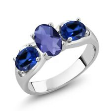 1.65 Ct Oval Checkerboard Blue Iolite Simulated Sapphire 18K White Gold Ring