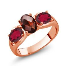 1.80 Ct Oval Red Garnet Red Mystic Topaz 18K Rose Gold Plated Silver Ring