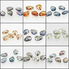 5pcs/17x13mm Faceted Glass Crystal Charm Finding Loose Spacer Teardrop Beads