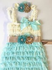 baby Girl Lace Ruffle dress girl dress teal blue dress Elastic Sequins HairBand