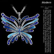 Huge Butterfly Crystal Rhinestone Pendant 6Color Sweater Chain Bib Necklace NEW