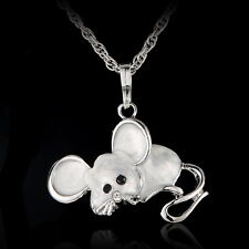 Women Fashion Jewelry Mouse Animal Enamel Pendant Long Necklace Sweater Chain