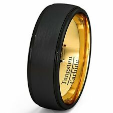Mens Wedding Band Black Gold Tungsten Ring Brushed Surface Center Step Edge 8mm