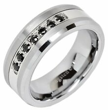 8mm Men's Tungsten Ring Black Cz Inlay Wedding Band Titanium Color