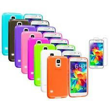 For Samsung Galaxy S5 SV TPU Transparent Color Soft Rubber Case + Tempered Glass