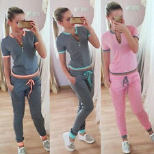 Casual Womens Sport Suit Zipper Tops Pants Trousers Soft Jogging Tracksuits