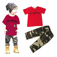 Cute Kids Boys Short Sleeve T-shirt Tops   Camouflage Pants 2pcs Casual Outfits