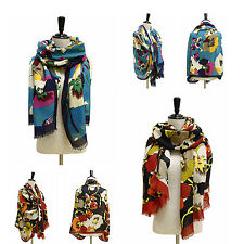 WOMEN FLORAL PRINT NECK LARGE SCARF WRAP SHAWL / LEOPARD HEADSCARF