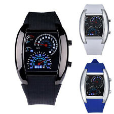 Aviation Turbo Dial Flash LED Watch Lady Mens Watch Sports Watch Car Meter Gift