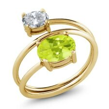 2.10 Ct Oval Yellow Lemon Quartz White Topaz 18K Yellow Gold Plated Silver Ring