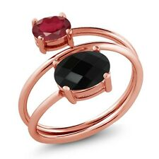 2.42 Ct Oval Checkerboard Onyx African Red Ruby 18K Rose Gold Plated Silver Ring