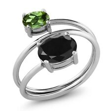 2.66 Ct Oval Black Sapphire Green Tourmaline 925 Sterling Silver Open Ring