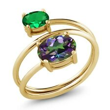 2.10 Ct Green Mystic Topaz Simulated Emerald 18K Yellow Gold Plated Silver Ring