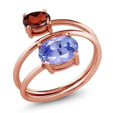 2.10 Ct Oval Blue Tanzanite AAAA Red Garnet 18K Rose Gold Plated Silver Ring