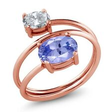 2.10 Ct Oval Blue Tanzanite AAAA White Topaz 18K Rose Gold Plated Silver Ring