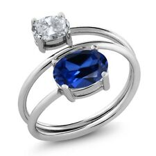 2.60 Ct Oval Blue Simulated Sapphire White Topaz 925 Sterling Silver Ring