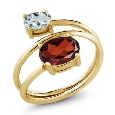 2.06 Ct Oval Red Garnet Sky Blue Aquamarine 18K Yellow Gold Plated Silver Ring