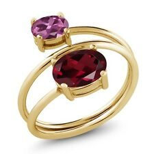 2.35 Ct Red Rhodolite Garnet Pink Tourmaline 18K Yellow Gold Plated Silver Ring