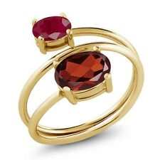 2.40 Ct Oval Red Garnet Red Ruby 18K Yellow Gold Plated Silver Open Ring