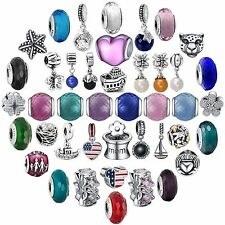 New Arrival Colorful Glass Bead 925 Sterling Silver Charms For Bracelets Bangle