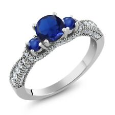 1.85 Ct Round Blue Simulated Sapphire Blue Sapphire 925 Sterling Silver Ring