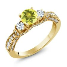 2.27 Ct Round Canary Mystic Topaz White Topaz 18K Yellow Gold Plated Silver Ring