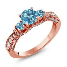1.84 Ct Round Swiss Blue Topaz 18K Rose Gold Plated Silver Ring