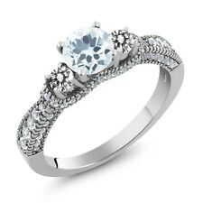 1.94 Ct Round Sky Blue Aquamarine White Diamond 925 Sterling Silver Ring