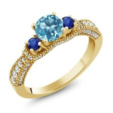 1.80 Ct Round Swiss Blue Topaz Blue Sapphire 18K Yellow Gold Plated Silver Ring