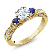 2.09 Ct Round White Zirconia Blue Sapphire 18K Yellow Gold Plated Silver Ring