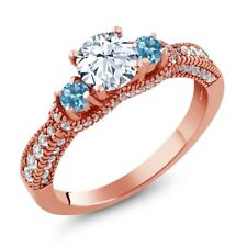 2.19 Ct Round White Topaz Swiss Blue Topaz 18K Rose Gold Plated Silver Ring