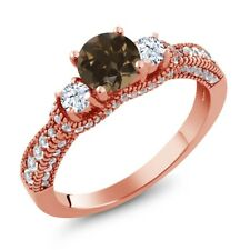 1.73 Ct Round Brown Smoky Quartz White Topaz 18K Rose Gold Plated Silver Ring