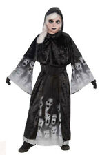 GIRLS BLACK VAMPIRE GHOST HALLOWEEN FANCY DRESS COSTUME ROBE OUTFIT AGE 8-10