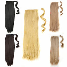 """18"""" Clip In Pony Tail Ponytail Straight Hair Extension Wrap On Hair Lady"""
