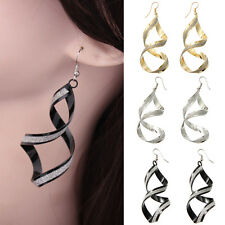 Fashion Womens Jewelry Charming Spiral Twist Big Long Hook Dangle Earring Gift