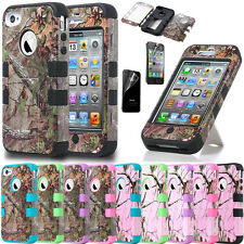 Hybrid Rugged Rubber Matte Hard Case TUFF Cover For iPhone 4G 4S w/ Screen Guard