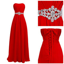 Fasion Woman Pretty Strapless Long Evening Dress Formal Prom Gown D004 2-20W
