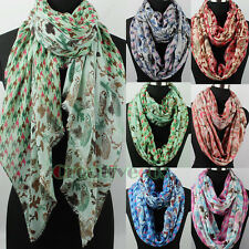 Women's Owls&Houndstooth Print Polyester Long/Infinity Scarf Soft Ladies Scarves
