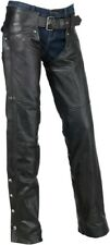 Z1R Womens Carbine Leather Biker Chaps Harley Cruiser Motorcycle-See Sizes-Black
