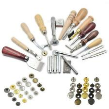200 Snap Rivet Button + 14 Tool Leather Stud Sewing Thread Groover Knife Kit Awl