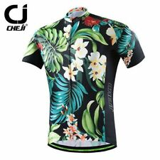 CHEJI Men Summer Cycling Jersey Top Shirt Mountain Bike MTB Jersey Retro Pattern