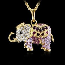HOT 3D Elephant Crystal Rhinestone Gold Tone Pendant Long Chain Necklace Women's
