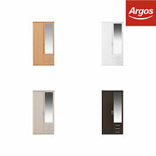 The Collection at Argos Hallingford 2Dr Mirror Wooden Wardrobe-Choice of Colour.