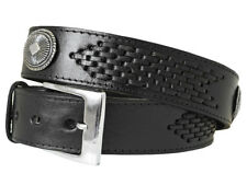 NEW! Black Leather Woven Western Belt With Conchos