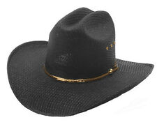 Black Stallion Straw Cowboy Hat (Adult S/M L/XL & Kids)